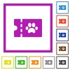 pet shop discount coupon flat framed icons - pet shop discount coupon flat color icons in square frames on white background