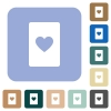 Heart card symbol rounded square flat icons - Heart card symbol white flat icons on color rounded square backgrounds