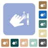 Left handed scroll up gesture rounded square flat icons - Left handed scroll up gesture white flat icons on color rounded square backgrounds