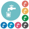 Drinking water flat round icons - Drinking water flat white icons on round color backgrounds