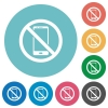 No smartphone flat round icons - No smartphone flat white icons on round color backgrounds