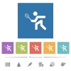 Tennis player flat white icons in square backgrounds - Tennis player flat white icons in square backgrounds. 6 bonus icons included.