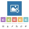 Cancel image operations flat white icons in square backgrounds - Cancel image operations flat white icons in square backgrounds. 6 bonus icons included.