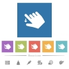 Right handed move down gesture flat white icons in square backgrounds - Right handed move down gesture flat white icons in square backgrounds. 6 bonus icons included.