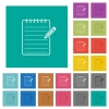 Spiral notepad with pencil square flat multi colored icons - Spiral notepad with pencil multi colored flat icons on plain square backgrounds. Included white and darker icon variations for hover or active effects.