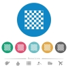 Chess board flat round icons - Chess board flat white icons on round color backgrounds. 6 bonus icons included.