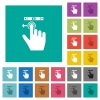 right handed scroll left gesture square flat multi colored icons - right handed scroll left gesture multi colored flat icons on plain square backgrounds. Included white and darker icon variations for hover or active effects.