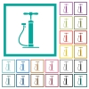 Air pump flat color icons with quadrant frames - Air pump flat color icons with quadrant frames on white background