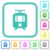 Tram vivid colored flat icons - Tram vivid colored flat icons in curved borders on white background