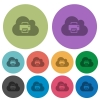 Cloud printing color darker flat icons - Cloud printing darker flat icons on color round background