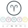 Aries zodiac symbol flat color icons in round outlines - Aries zodiac symbol flat color icons in round outlines. 6 bonus icons included.