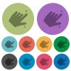 Left handed pinch open gesture color darker flat icons - Left handed pinch open gesture darker flat icons on color round background