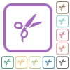 Barber scissors simple icons in color rounded square frames on white background - Barber scissors simple icons