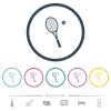 Tennis racket with ball flat color icons in round outlines - Tennis racket with ball flat color icons in round outlines. 6 bonus icons included.
