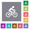Bicycle with rider square flat icons - Bicycle with rider flat icons on simple color square backgrounds