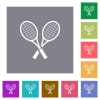 Two tennis rackets square flat icons - Two tennis rackets flat icons on simple color square backgrounds