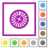 Roulette wheel flat framed icons - Roulette wheel flat color icons in square frames on white background