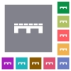 Single pallet square flat icons - Single pallet flat icons on simple color square backgrounds
