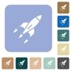 Rocket rounded square flat icons - Rocket white flat icons on color rounded square backgrounds