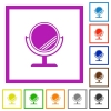 Desk mirror with reflection flat framed icons - Desk mirror with reflection flat color icons in square frames on white background