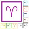 Aries zodiac symbol flat framed icons - Aries zodiac symbol flat color icons in square frames on white background