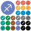 Sagittarius zodiac symbol round flat multi colored icons - Sagittarius zodiac symbol multi colored flat icons on round backgrounds. Included white, light and dark icon variations for hover and active status effects, and bonus shades.