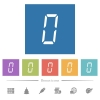 digital number zero of seven segment type flat white icons in square backgrounds - digital number zero of seven segment type flat white icons in square backgrounds. 6 bonus icons included.