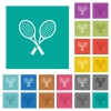 Two tennis rackets square flat multi colored icons - Two tennis rackets multi colored flat icons on plain square backgrounds. Included white and darker icon variations for hover or active effects.