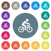 Bicycle with rider flat white icons on round color backgrounds - Bicycle with rider flat white icons on round color backgrounds. 17 background color variations are included.
