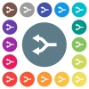 Split arrows left flat white icons on round color backgrounds - Split arrows left flat white icons on round color backgrounds. 17 background color variations are included.