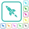 Rocket vivid colored flat icons - Rocket vivid colored flat icons in curved borders on white background