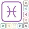 Pisces zodiac symbol simple icons - Pisces zodiac symbol simple icons in color rounded square frames on white background