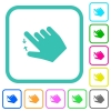 Right handed pinch close gesture vivid colored flat icons - Right handed pinch close gesture vivid colored flat icons in curved borders on white background