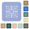 Nine men's morris game board rounded square flat icons - Nine men's morris game board white flat icons on color rounded square backgrounds