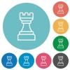 White chess rook flat round icons - White chess rook flat white icons on round color backgrounds