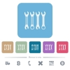 Set of wrenches flat icons on color rounded square backgrounds - Set of wrenches white flat icons on color rounded square backgrounds. 6 bonus icons included
