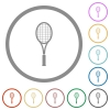 Single tennis racket flat color icons in round outlines on white background - Single tennis racket flat icons with outlines