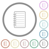 Notepad flat icons with outlines - Notepad flat color icons in round outlines on white background
