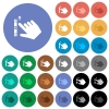 Right handed scroll up gesture round flat multi colored icons - Right handed scroll up gesture multi colored flat icons on round backgrounds. Included white, light and dark icon variations for hover and active status effects, and bonus shades.