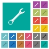 Single wrench square flat multi colored icons - Single wrench multi colored flat icons on plain square backgrounds. Included white and darker icon variations for hover or active effects.