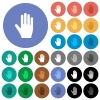 Right hand round flat multi colored icons - Right hand multi colored flat icons on round backgrounds. Included white, light and dark icon variations for hover and active status effects, and bonus shades.