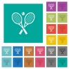 Tennis rackets with ball multi colored flat icons on plain square backgrounds. Included white and darker icon variations for hover or active effects. - Tennis rackets with ball square flat multi colored icons