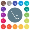 Hockey stick and puck flat white icons on round color backgrounds - Hockey stick and puck flat white icons on round color backgrounds. 17 background color variations are included.