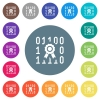 Digital certificate flat white icons on round color backgrounds - Digital certificate flat white icons on round color backgrounds. 17 background color variations are included.