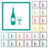 Wine bottle and glass flat color icons with quadrant frames - Wine bottle and glass flat color icons with quadrant frames on white background