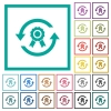 Renew certificate flat color icons with quadrant frames - Renew certificate flat color icons with quadrant frames on white background