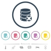 Database cancel flat color icons in round outlines - Database cancel flat color icons in round outlines. 6 bonus icons included.