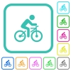 Bicycle with rider vivid colored flat icons - Bicycle with rider vivid colored flat icons in curved borders on white background