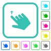Right handed move up gesture vivid colored flat icons - Right handed move up gesture vivid colored flat icons in curved borders on white background