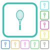 Single tennis racket vivid colored flat icons - Single tennis racket vivid colored flat icons in curved borders on white background
